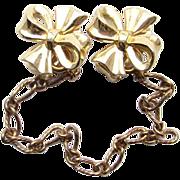Vintage Crown Trifari Gold Tone Sweater Guard Clip Dress Clips 2 in 1 Costume Jewelry