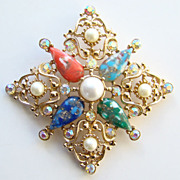 1969 Sarah Coventry Galaxy Pin Brooch Pendant 5015 Signed