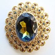 Vintage Corocraft Oval Rhinestone Blue Givre Glass Brooch Signed
