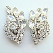 Vintage DeLizza & Elster Juliana Clip Earrings Clear Rhinestone Large Climber Beautiful