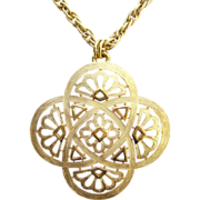 1970s Crown Trifari Celtic Knot Gold Tone Pendant Necklace