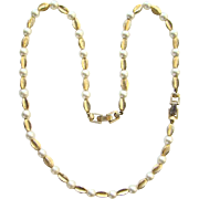 C1950s Crown Trifari Faux Pearl Gold Tone Necklace Bracelet Two in One Signed