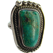 Vintage Southwestern Tribal Navajo Style Dark Turquoise Ring Size 7.5 Sterling Silver
