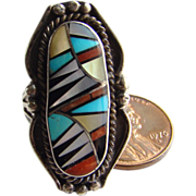 Vintage Zuni Sterling Silver Ring Turquoise Coral MOP Jet Inlay Size 6.25 Signed RH