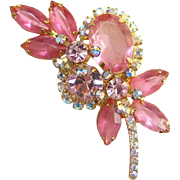 Juliana Pink Rhinestone Stylized Floral Brooch Pin Aurora Borealis DeLizza Elster
