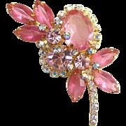 Juliana Pink Rhinestone Stylized Floral Brooch Pin Aurora Borealis DeLizza Elster