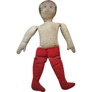 C1900 Small Cloth Rag Doll Painted Head Red Legs Undressed 11 Inches