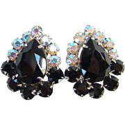 Juliana Black Rhinestone Clip Earrings Aurora Borealis DeLizza Elster Costume Jewelry