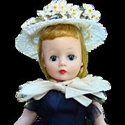 1957 Cissette Doll in Navy Taffeta Dress Hat Madame Alexander Leg Issue