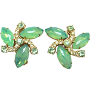 Juliana Iridescent Green Cabochon Rhinestone Clip Earrings DeLizza Elster