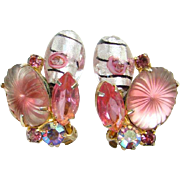 Juliana Pink Pillowcase Sunburst Rhinestone Clip Earrings Blown Glass Drops DeLizza Elster Book Piece