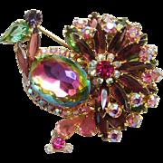 Juliana Rhinestone Peacock Brooch Pin Pink Green Heliotrope DeLizza Elster Book Piece