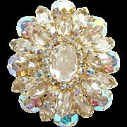 Juliana Clear Rhinestone Tiered Oval Brooch Pin Aurora Borealis DeLizza Elster Verified