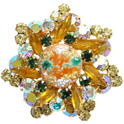 Juliana 1963 Star Design Rhinestone Pendant Brooch Coral Gold Splattered Book Piece DeLizza Elster