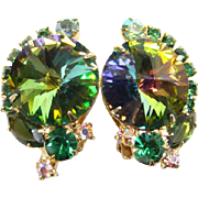 Juliana Clip Rhinestone Earrings Green Watermelon Rivoli Book Pierce DeLizza Elster