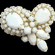 Juliana White Milk Glass Rhinestone Brooch Pin DeLizza Elster Book Piece Costume Jewelry