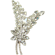 Juliana Clear Ice Rhinestone Brooch Pin Stylized Leaves Verified DeLizza Elster D & E Costume Jewelry