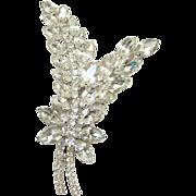 Juliana Clear Ice Rhinestone Brooch Pin Stylized Leaves Verified DeLizza Elster D & E Costume Jewelry