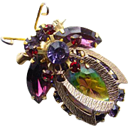 Juliana Figural Bumblebee Bee Insect Brooch Amethyst Ruby Red Green Heliotrope Book Piece