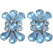 Juliana Frosted Blue Rhinestone Earrings Silvertone Setting DeLizza Elster D & E