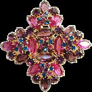 Juliana DeLizza Elster Pink Amethyst Blue Rhinestone Brooch Pin D&E Verified Book Piece