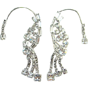 Juliana Ear Wrap Chignon Earrings in Clear Crystal Rhinestones 1952 DeLizza Elster D & E Book Piece