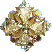 Juliana DeLizza Elster Jonquil Yellow Triangle Aurora Borealis Rhinestone Pendant Brooch Pin Verified D & E 1963