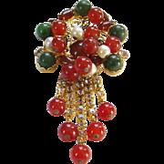 Juliana Dangle Brooch Red Green Cluster Bead Heart Scrolls Clear Rhinestone DeLizza Elster D&E