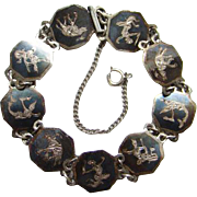 Siam Sterling Bracelet Three Elephants Dancing Goddesses Black Niello Enamel Hexagon Links C1930 Silver Jewelry