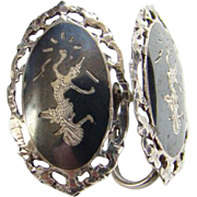 Siam Sterling Screw Back Earrings Oval Black Niello Enamel Mekkala Dancer Lightning Goddess Silver Jewelry