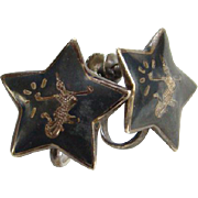 Siam Sterling Star Shape Screw Back Earrings Black Niello Enamel Mekkala Dancer Lightning Goddess Silver Jewelry