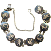 Siam Sterling Bracelet Hexagon Links Black Niello Enamel Elephant Dancing Goddess Silver Jewelry