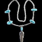 Jewelry Artist Peter Ottaviani Ott Sterling Silver Turquoise Pendant Necklace Boho Bohemian Chic