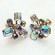 Vintage Weiss Aurora Borealis Earrings Emerald Cut Silvertone