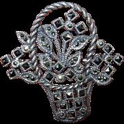 Vintage Sterling Silver Basket Pin Brooch