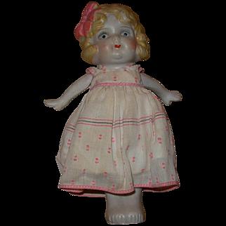 Vintage Bisque Japanese Baby Doll Figurine in Dress