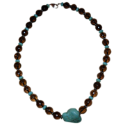 Vintage Beaded Crystal and Turquoise Choker Necklace