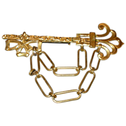 Antique Brass Hanging Chain Large Brooch Pin