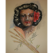 "Vintage ""Tamina"" Tahiti Drawing by John Flocken"