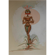 Vintage Tahitian Drawing 1940's