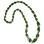 Vintage Green Glass Graduated Beaded Necklace