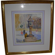 "Signed Watercolor by Artist Gary David Hoffmann ""Japanese Lantern"""