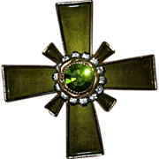 Vintage Signed Har Enameled Rhinestone Cross Pin Brooch