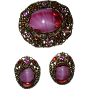 Vintage German Pink & Red Rhinestone Pin and Earring Set