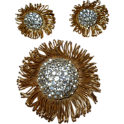 Vintage Rhinestone Pin & Earring Set