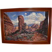"Vintage Original Large Oil Painting by William Dampier  1910-1985 ""Diablo Canyon Utah"""