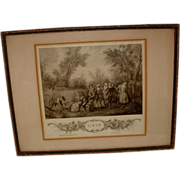 Vintage French Art Etching in Frame L' Ete Paris
