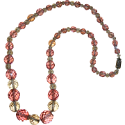 Vintage Pink & Clear Crystal Beaded Necklace