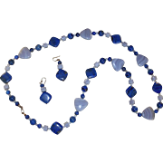 Beaded Lapis Long Necklace with Matching Earrings Jewelry Set