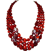 Vintage Red Glass Beaded Necklace Western Germany